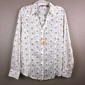 Wrangler Large floral Cream Western Top blouse